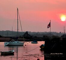 The English Flag at sunset by Charmiene Maxwell-batten