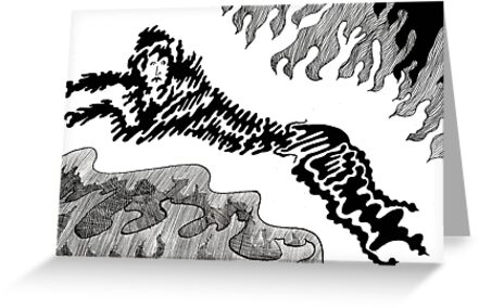 36 - LEAPING - DAVE EDWARDS - INK - c.1980 by BLYTHART