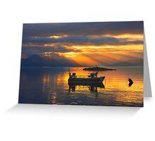 Sunbeams over the Isle of Skye, Scotland. Greeting Card