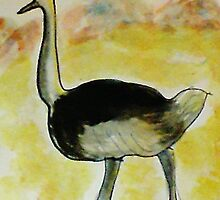 Th Ostrich, watercolor by Anna  Lewis