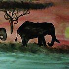 Elephants in a sunset, watercolor by Anna  Lewis
