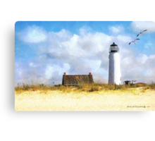 St. George Island Lighthouse (art, poetry & music) Canvas Print
