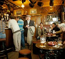 """Early evening in the """"Olde Ship Inn"""" (2), Seahouses, 1980s, NE England. by David A. L. Davies"""
