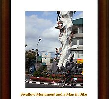 Swallow Monument and a Man in Bike by onkytombe