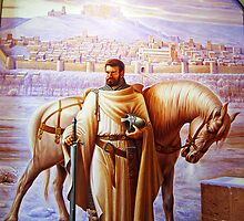 Painting of El Cid, Burgos cathedral, Spain by buttonpresser
