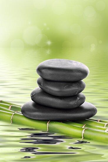 Zen basalt stones on bamboo by Pics4merch