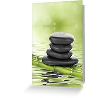 Zen basalt stones on bamboo Greeting Card