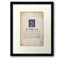 St. Urho 3:16 Framed Print
