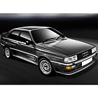 Dark Grey Audi Quattro Poster illustration by Autographics