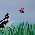 Cat Chasing A Butterfly by ValeriesGallery
