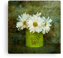 A Pail of Daisies Canvas Print
