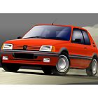 Peugeot 205 GTI Illustration by Autographics