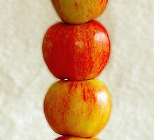 Stacked juicy gala apples by Tracy Friesen
