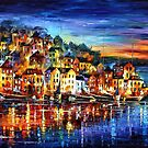 Night Harbor - original oil painting on canvas by Leonid Afremov by Leonid  Afremov
