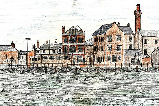 24 - BLYTH RIVERSIDE - DAVE EDWARDS - INK & COLOURED PENCILS - 1976 by BLYTHART