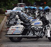NYPD Motorcycles in a Row by Dianne Grist