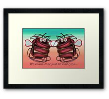 Alien bees card with text Framed Print