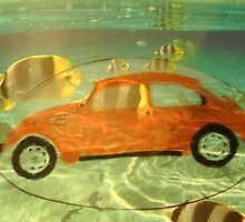 Orange VW Beetle & Sun Fish by Della  Badart