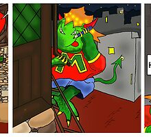 Kid Monsta Triptych 5 by Kev Moore