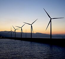 Wind Turbines on Ferry Crossing to Bilbao by Becky Jackson