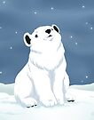 Polar bear cub in snow by Tunnelfrog