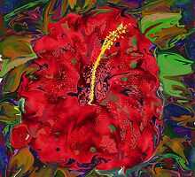 Hibiscus Haze- Abstract Digital Painting by kreativekate