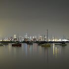 Melbourne Skyline Over Still Water by axemangraphics