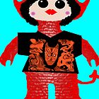 Little Devil In Disguise Rag Doll Wearing Mommy's Art 5 by Deborah Lazarus