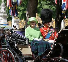 The Queen Trooping the colour dressed in Green. by Keith Larby