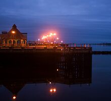 Yarmouth waterfront at dawn by Harv Churchill