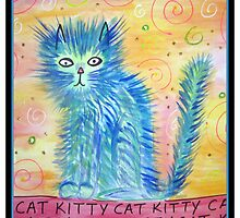 Funky Blue Kitty Cat by GroovyGal