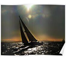 Sun Silhouette Sailing Poster