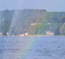 Rainbow & Floating Fountain - Canadaigua Lake by Heidi Snyder