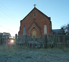 Sacred Heart Church, dawn at Hill End  by DashTravels