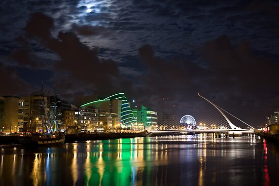 Liffey River by Night, Samuel Beckett Bridge, Dublin, Ireland by espanek