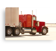 Bright Red Tractor with Trailer Canvas Print
