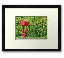 Firehouse Mailbox and Fire Hydrant Framed Print