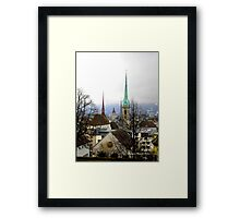Winter view over Zurich Framed Print