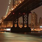 Manhattan Bridge at night by boris reyt