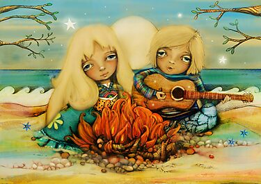 beach campfire by © Karin  Taylor