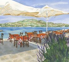 Grecian Seaside Cafe by Marsha Elliott