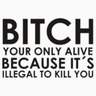 BITCH YOUR ONLY ALIVE BECAUSE IT'S ELLEGAL TO KILL YOU by barryvisser