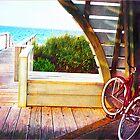 bike on ocean boardwalk by jashumbert
