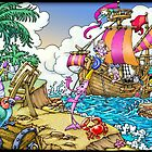 'Colour Island' colourful characters, ship, island  digital painting by DavidStanley