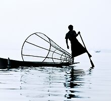 Fisherman on Lake Inle, Burma by ingojez