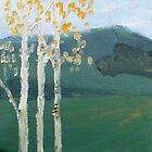 Birch Trees on the Downs by Jude Allman
