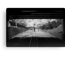 Black tunnel, white trees Canvas Print