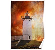 Red Sky At Morning - Nubble Lighthouse Poster