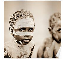 Two Aboriginal boys with painted face Poster