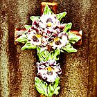 Ceramic Flower on Cross by Jason Dymock